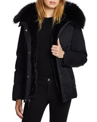 Dawn Levy Luka Fitted Waterproof Parka Coat With Fox Fur Trim Black