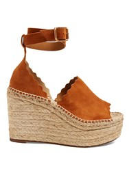 Chloe Lauren Suede Espadrille Wedge Sandals Tan