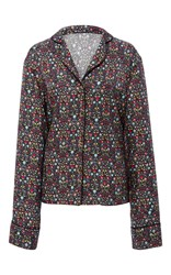 Cynthia Rowley Printed Silk Night Shirt Floral