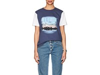 Off White C O Virgil Abloh Women's Thedrop Barneys Graphic Print Cotton Jersey T Shirt Blue No Color