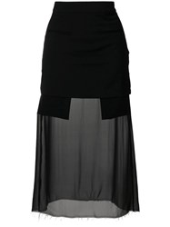 Each X Other Sheer Panel Fitted Skirt Black