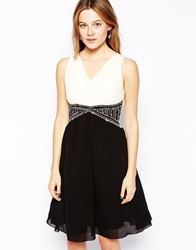 B.Young Dress With Beaded Waist Creanblack