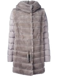 Liska Mink Fur Hooded Puffer Coat Nude And Neutrals