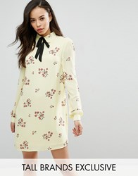 Fashion Union Tall Floral Printed Long Sleeve Shift Dress With Bow Tie Detail Multi