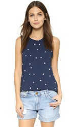 Current Elliott The Muscle Tee Navy With Mini White Stars