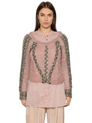 Trussardi Embellished Raffia Knit Sweater