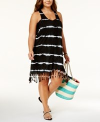 Raviya Plus Size Tie Dyed Striped Dress Cover Up Women's Swimsuit Black