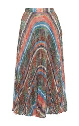 Marco De Vincenzo Pleated Chaos Print Midi Skirt