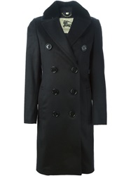 Burberry London Rabbit Fur Collar Trench Coat Black