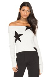 Pam And Gela Star Off Shoulder Sweater Gray