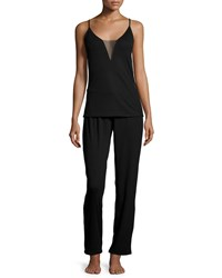 Natori Aria Cami Knit Pajama Set Black