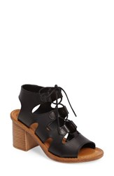 Bella Vita Women's Bre Lace Up Block Heel Sandal Black Leather