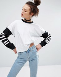 The Ragged Priest Long Sleeve Top With Wild Child Print White