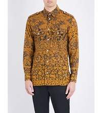 Vivienne Westwood Slim Fit Lace Print Cotton Shirt Gold Lace