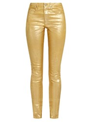 Etoile Isabel Marant Metallic High Rise Skinny Fit Jeans Gold