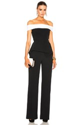 Roland Mouret Danielson Stretch Crepe Jumpsuit In Black White Black White