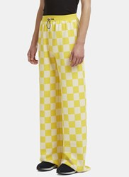 Sunnei X Ln Cc Wide Leg Checked Knit Pants Yellow