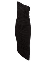 Norma Kamali Diana Asymmetric Ruched Midi Dress Black