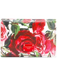 Dolce And Gabbana Rose Print Wallet White