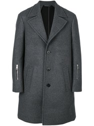 Neil Barrett Single Breasted Coat Men Polyamide Polyester Spandex Elastane Wool 46 Grey
