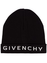 Givenchy Black And White Logo Cashmere And Cotton Beanie