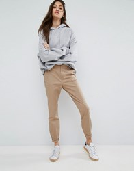 Asos Skinny Chino Trousers With Roll Up Beige