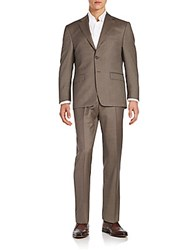 Lauren Ralph Lauren Regular Fit Nailhead Wool Suit Brown