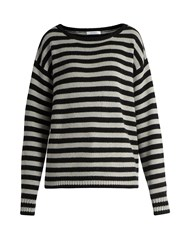 Max Mara Striped Cashmere Sweater Black Grey
