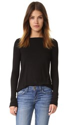Atm Anthony Thomas Melillo Long Sleeve Boat Neck Tee Black