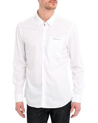 Harris Wilson Shirt With Light Poplin Contrasting Trim And White Floral Details