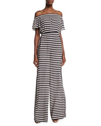 Rachel Zoe Clementine Wide Leg Striped Jumpsuit Black Stripe