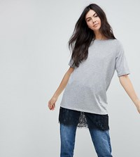 Noisy May Tall T Shirt With Lace Hem Multi Grey