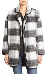 Astr Two Tone Fuzzy Plaid Jacket Black White
