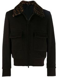 Fendi Ff Collar Bomber Jacket Brown