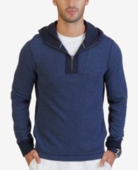 Nautica Men's Quarter Zip Hoodie Blue Indigo