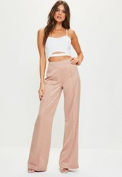 Missguided Tall Exclusive Pink Satin Wide Leg Trousers Nude