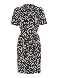 Linea Brushstroke Tie Up Shirt Dress Black White Black White