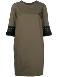 Barba Tasseled Sleeve Dress Brown