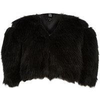 River Island Womens Black Design Forum Cropped Faux Fur Bolero