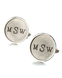 Monogramed Round Cuff Links 1 Line Silver Men's Heather Moore