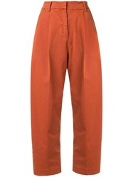 Ymc Cropped High Waisted Trousers Orange