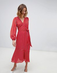 Warehouse Wrap Front Midi Dress With Tie Detail In Red Stripe Red Stripe