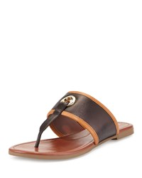 Cole Haan Arlette Ii Leather T Strap Sandal Black Acorn