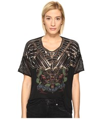The Kooples Sport Embroidery Viscose And Print T Shirt Black