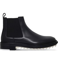 Lanvin Shark Tooth Sole Leather Chelsea Boots Black