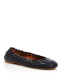 See By Chloe Jane Scalloped Ballet Flats Dark Blue