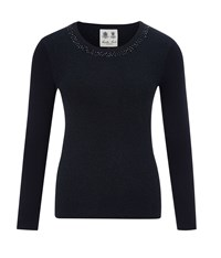 Austin Reed Embellished Neck Lurex Jumper Navy