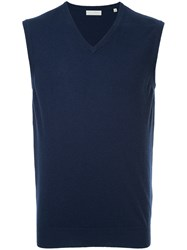 Gieves And Hawkes V Neck Vest Cashmere Blue