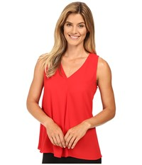 Vince Camuto Sleeveless V Neck Drape Front Blouse Fire Glow Women's Blouse Red