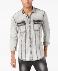 Inc International Concepts Men's Denim Moto Shirt Created For Macy's White Wash